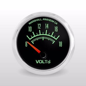 C2 60s Muscle 3 Gauge Set Stainless Bezels Volts Oil Pressure Water Temp
