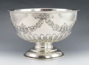 Antique 1904 English Sterling Silver Floral Festoon Centerpiece Fruit Punch Bowl