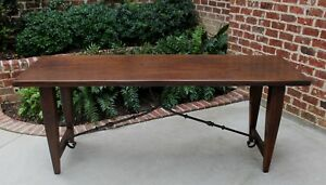 Antique Oak Catalan Mission Farmhouse Spanish Dining Table Iron Stretcher Desk