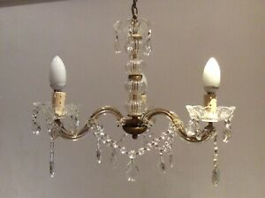Very Pretty Vintage French Marie Therese Crystal 3 Arm Chandelier C1940s