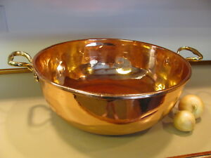 Vintage Solid Copper Pan Rolled Rim Round Bottom Polished Lacquered Large