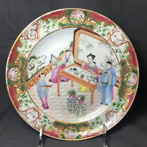 Antique 19th C Chinese Export Porcelain Plate Dish