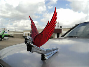 New Chrome Flying Goddess Hood Ornament With Red Lighted Wings Jig Saw Wing