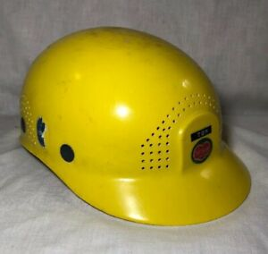 Vtg Yellow Scalp Cap Fibre metal Adjustable Hard Hat Union Made In Usa