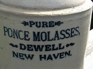 Old Speckled Pure Ponce Molasses Stoneware Jug W Pour Spout Dewell New Haven