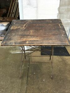 Antique Drafting Table Cast Wood Industrial Desk Design Drawing Can Ship