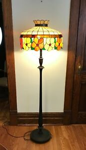 Vintage Antique Mission Arts Craft Stained Leaded Glass Large Lamp Shade 19