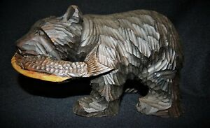 Japanese Hand Carved Vintage 8 Ainu Bear With Salmon Hokkaido Japan