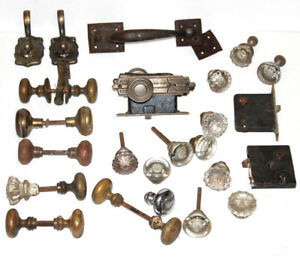 Lot Of Vintage Hardware Door Knobs Plates Locks Brass Glass Deco Pulls Hooks Set