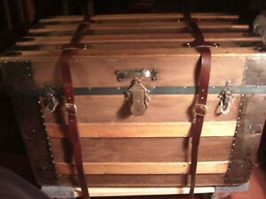 Steamer Trunk Oak Slats And Leather Trim