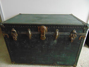Vtg Storage Trunk Train Luggage Flat Top Antique Steamer With Wood