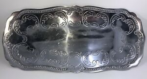 Vintage Antique Metal Silver Pewter Butler Bread Serving Tray 14 15 X 6 7