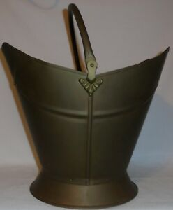 Vintage Coal Scuttle Bucket Brass Copper Fire Wood Ash Fireplace Pail Metal