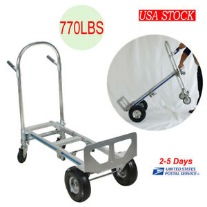 2 In 1 Aluminum Hand Truck 770lbs 51inch Height Convertible Hand Truck Us Stock