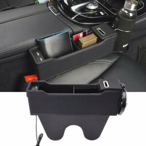 Black Car Front Passenger Seat Organizer Catch Pocket Box Cup Holder Usb Charger