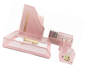 Office Supplies Pink Desk Accessories Organizer Set Magazine Storage Women