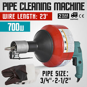 26ft X 8mm 700w Portable Electric Drain Pipe Auger Cleaner Cleaning Machine