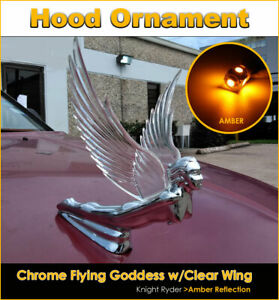 Chrome Flying Goddess Hood Ornament With Clear Wing Amber Led Reflection