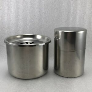 Z32 Set Of 2 Japanese Stainless Tea Caddy Waste Water Pot Tea Ceremony Signed