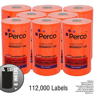 Red Pricing Labels For Monarch 1136 Price Gun Case Of 8 Sleeves 112 000 Value