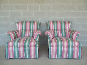 Hickory Chair Hollywood Regency Style Scroll Back Accent Club Chairs Pair