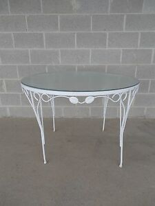 Vintage Wrought Iron Woodard Style Round Glass Top Table 42 W X 29 H
