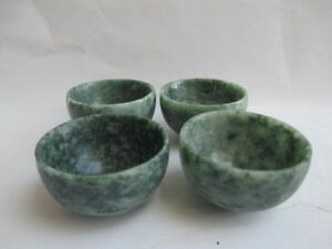 4pcs Chinese Hand Carved Jade Small Bowl Tea Cup Set Trr