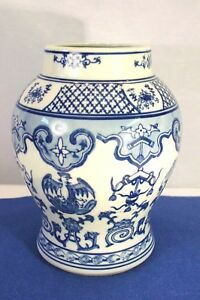 Vintage Chinese Japanese Blue And White Dragon Etc Porcelain Flower Vase
