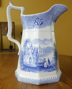 Lovely Antique Ironstone Transferware Staffordshire Pitcher W Adams Columbia 9