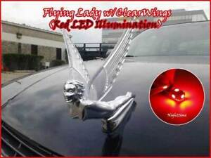 Flying Lady Goddess Chrome Hood Ornament Clear Red Illuminated Led Wings