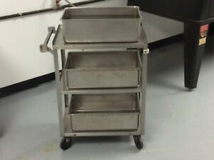 Commercial 16 X 26 Stainless Steel 3 Three Shelf Utility Cart Used