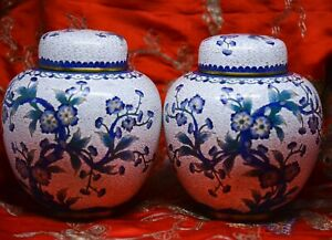 Antique Chinese Export Pair Cloisonne Ginger Jars 6 5 Inches Tall China