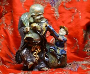 Antique Chinese Mudman Style Happy Buddha Large Ornament 9 Inches Tall