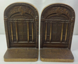 Vintage Ff Ziegler Arts Crafts Deco Bookends Castiron Bronze Book Ends Antique