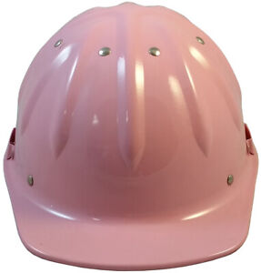 Skullbucket pink Cap Style Aluminum Hard Hat Ratchet Suspension W Chin Strap