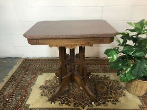 Antique Eastlake Style Marble Top Table