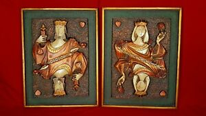 Mid Century Modern Pair Of King And Queen Of Hearts Panels