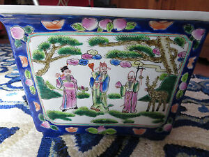 Chinese Porcelain Famille Rose Rectangular Jardiniere Planter