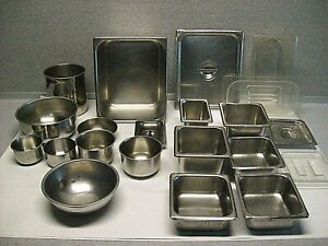 Lot 21 Pcs Stainless Steel Plastic Steam Table Table Pans Bowls Lids Used