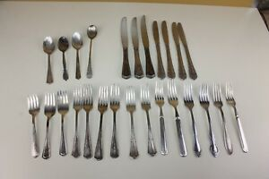 26 Piece Fork Spoon Knife Stainless Silverplate Mixed Lot Flatware Loc B6