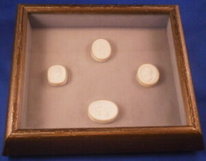 Antique Early 19thc Set Of 4 Italian Grand Tour Plaster Intaglio Cameo Italian