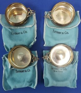 Tiffany Co Sterling Silver Set Of 4 Porringer Salt Cellars W Pouch Red Box