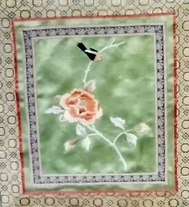 Vintage Asian Chinese Japanese Framed Silk Embroidery Panel Bird On Flower 15 75