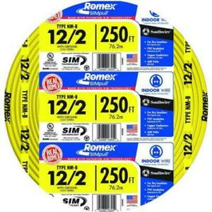 Southwire 250 Ft 12 2 Solid Romex Simpull Cu Nm b W g Wire Residential Wiring