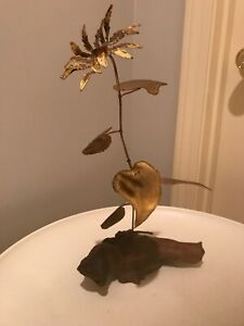 Vtg Mid Century Wood And Metal Flower Bud Table Sculpture C Jere Era
