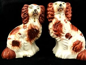 Matched Pair Of Red And White Staffordshire Spaniel Dogs Circa 1860s
