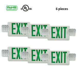 6pc Led Exit Green Sign Emergency Light Emergency Equipment Square Head Combo