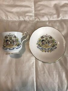 Queens Fine Bone China Princess Diana Prince Charles Tea Cup Saucer Rosina
