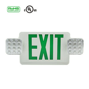 Green Led Exit Sign Emergency Light Square Head Combo Indoor Emergency Equipment