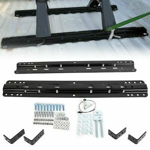 20k 5th Fifth Wheel Mounting Rail Kit Trailer Hitch Mount Black Steel For 30035